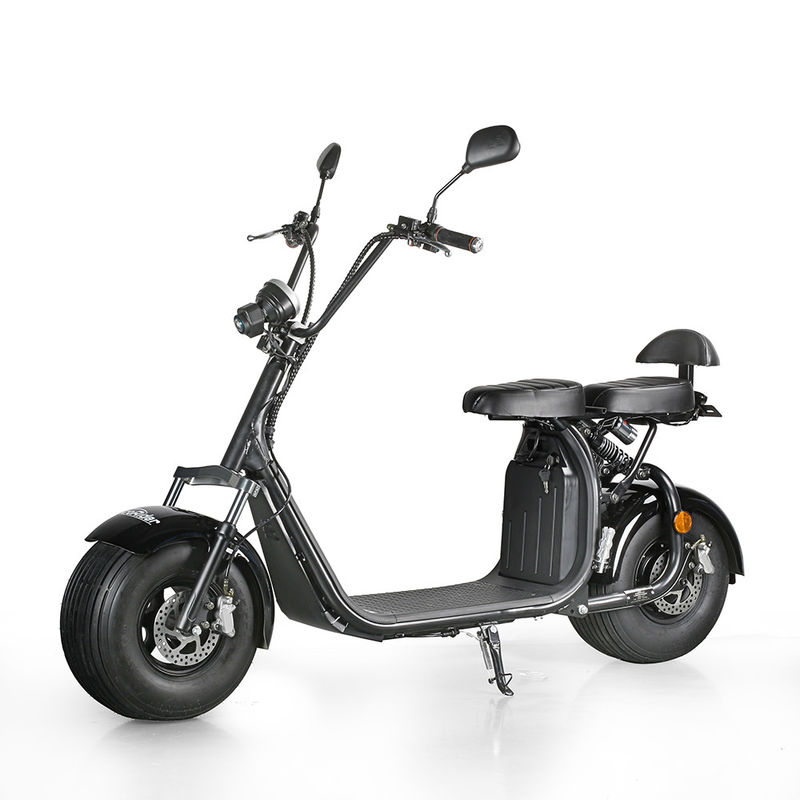 EcoRider 18inch fat tire 1500w 60v 12ah 2 Wheel Electric Scooter with double seat and EEC Certificate